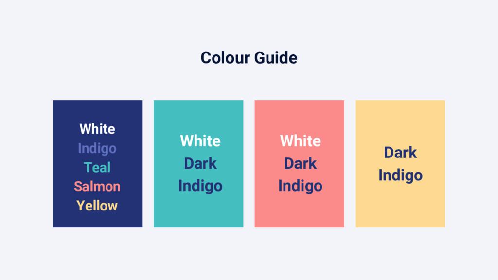 Colour Guide White Indigo Teal Salmon Yellow Wh...