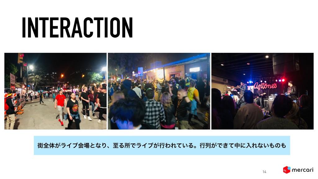 INTERACTION 14 ֗શମ͕ϥΠϒձͱͳΓɺࢸΔॴͰϥΠϒ͕ߦΘΕ͍ͯΔɻߦྻ͕Ͱ...