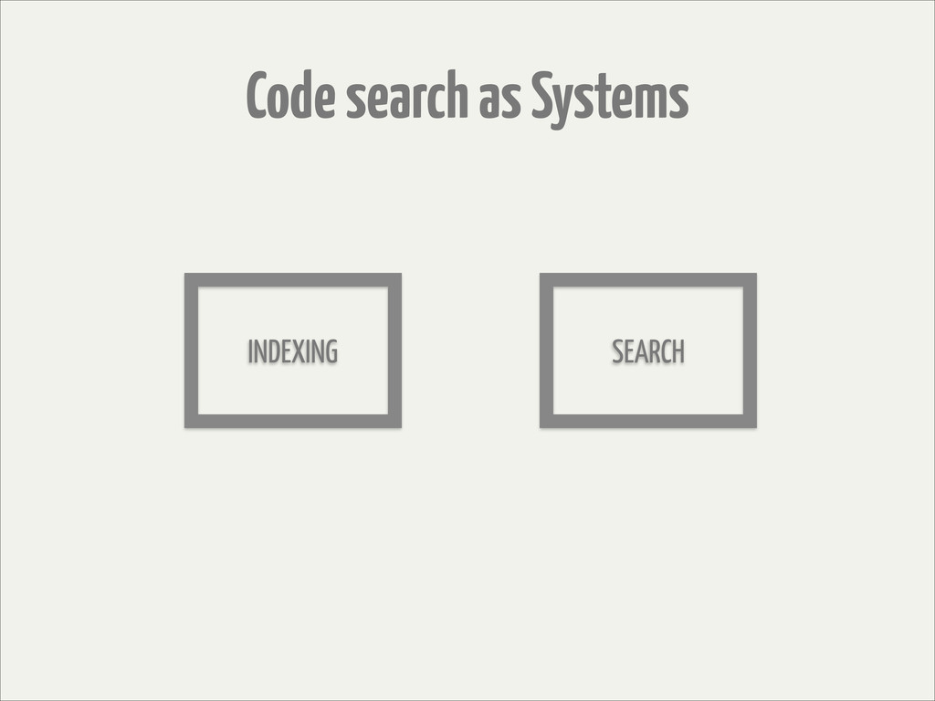 Code search as Systems INDEXING SEARCH