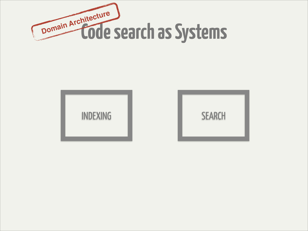 Code search as Systems Domain Architecture INDE...