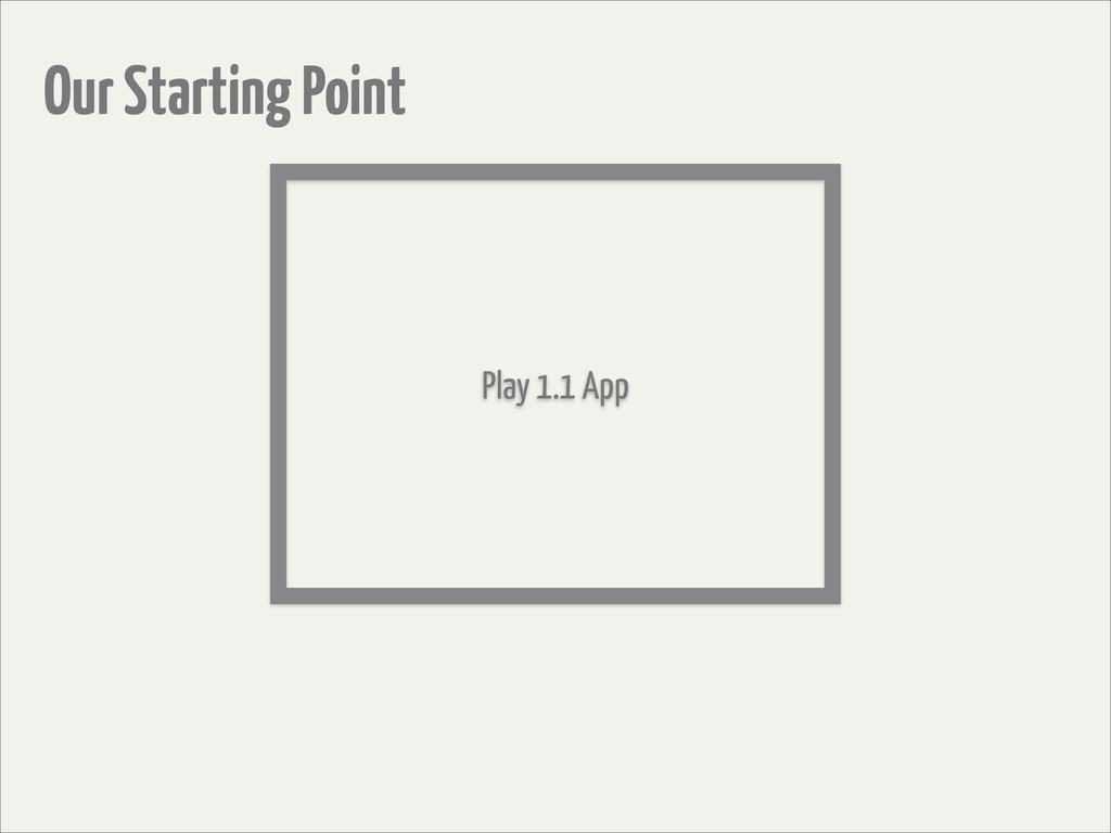 Play 1.1 App Our Starting Point