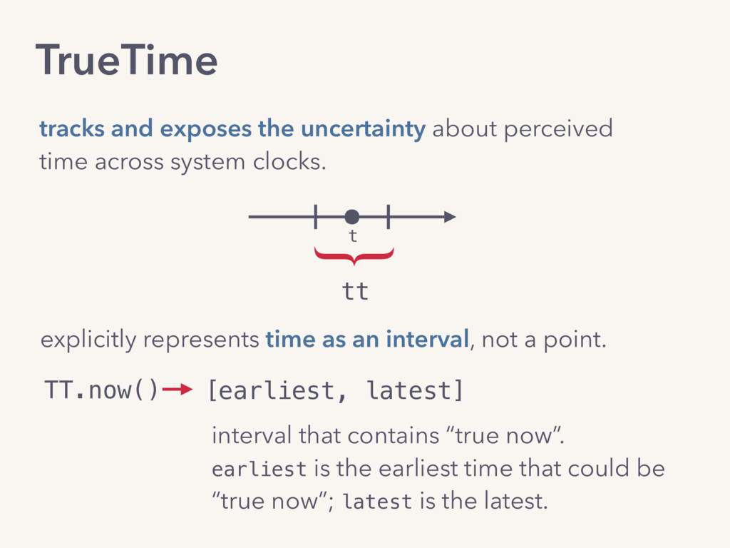 TrueTime tracks and exposes the uncertainty abo...