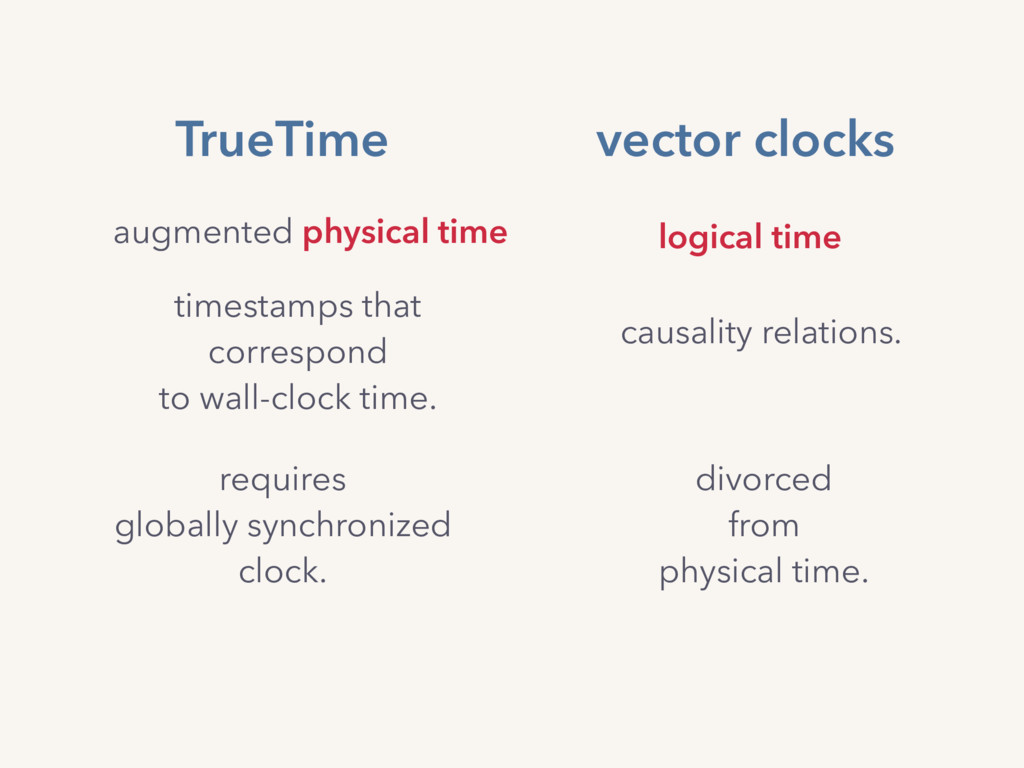 TrueTime augmented physical time timestamps tha...