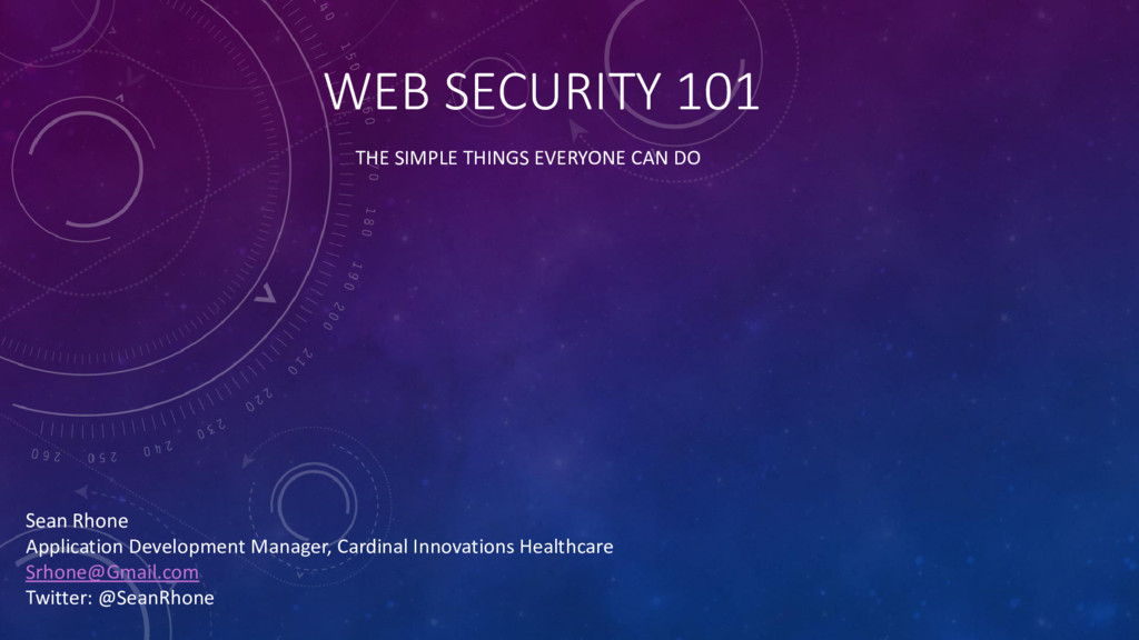 WEB SECURITY 101 THE SIMPLE THINGS EVERYONE CAN...