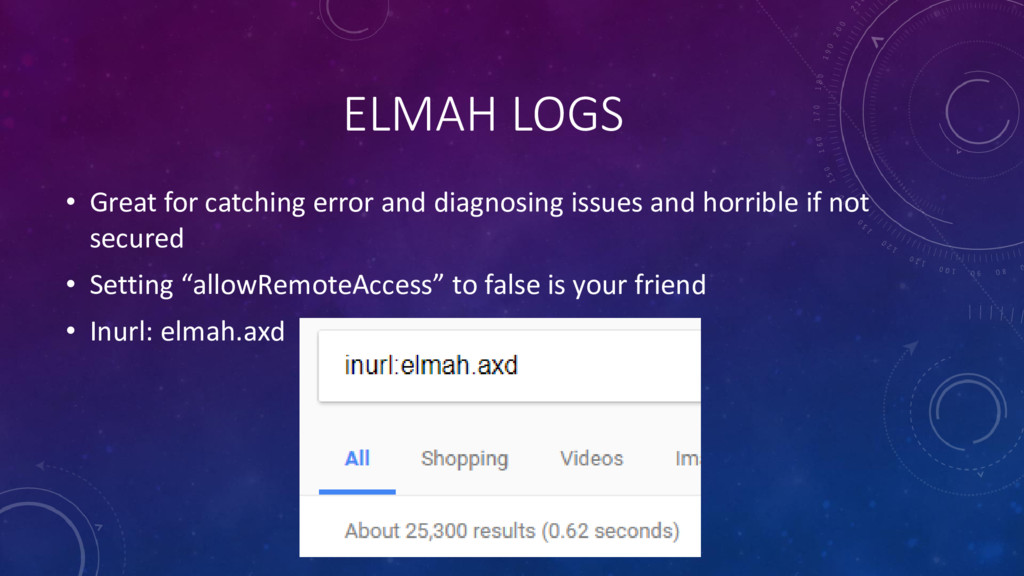 ELMAH LOGS • Great for catching error and diagn...