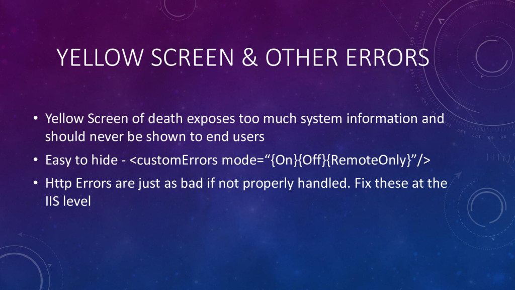 YELLOW SCREEN & OTHER ERRORS • Yellow Screen of...