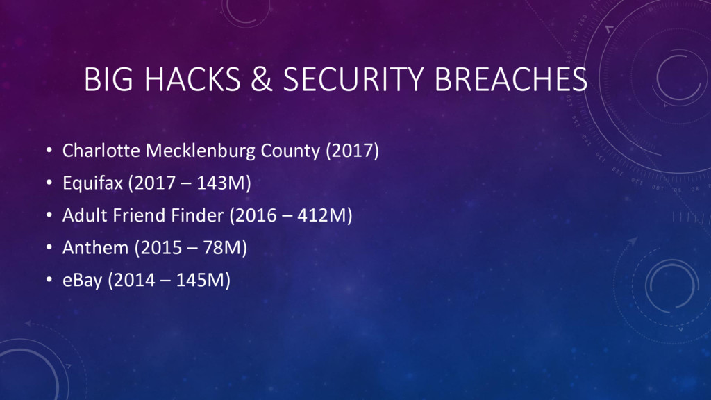 BIG HACKS & SECURITY BREACHES • Charlotte Meckl...