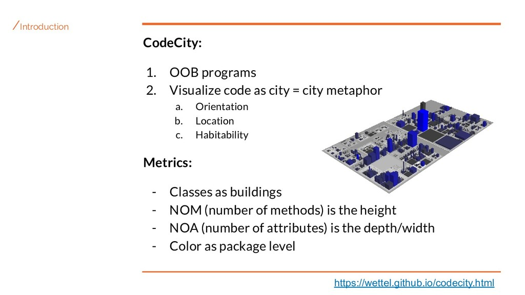 /Introduction CodeCity: 1. OOB programs 2. Visu...