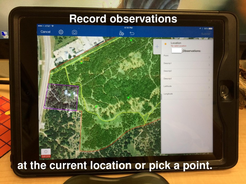 Record observations at the current location or ...