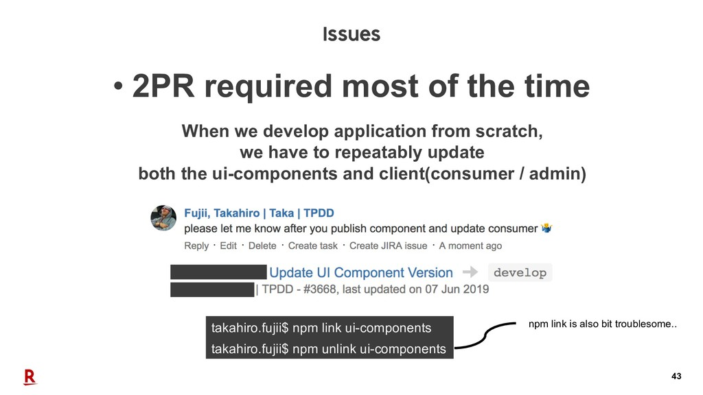 43 • 2PR required most of the time Issues takah...