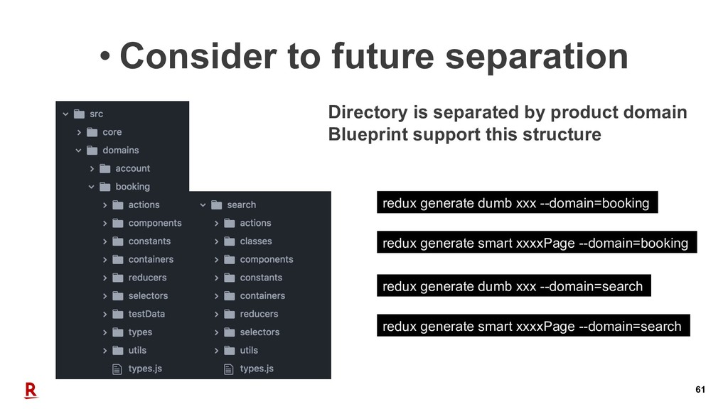 61 • Consider to future separation Directory is...