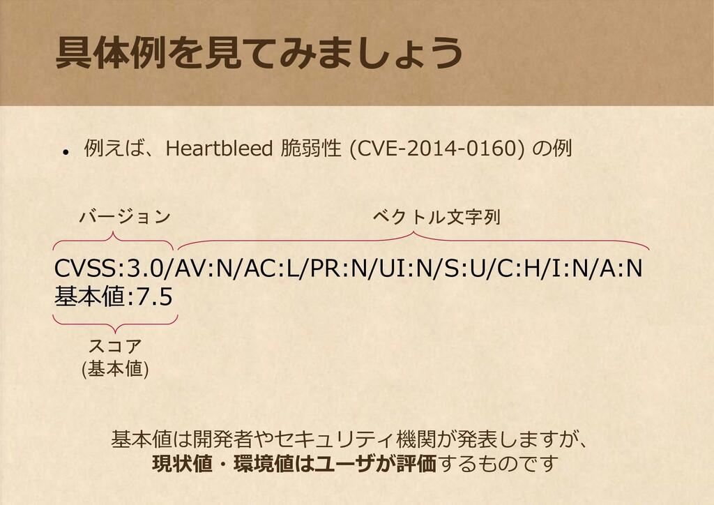 具体例を見てみましょう ⚫ 例えば、Heartbleed 脆弱性 (CVE-2014-0160...