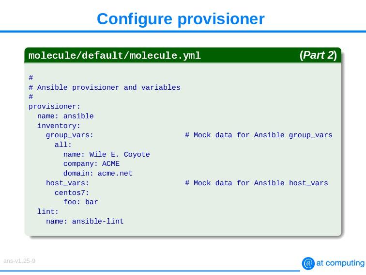 Configure provisioner molecule/default/molecule...