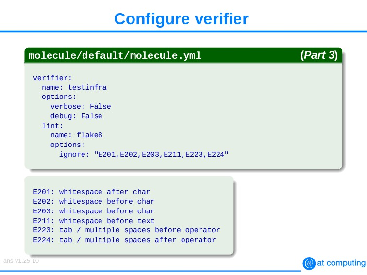Configure verifier molecule/default/molecule.ym...