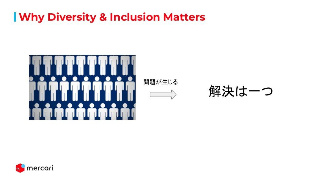 Why Diversity & Inclusion Matters 問題が生じる 解決は一つ
