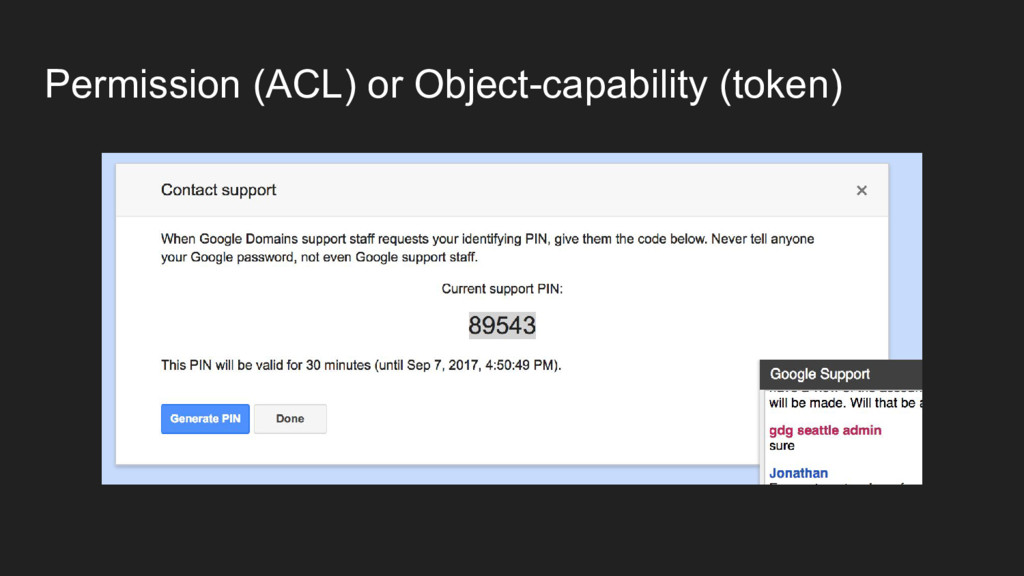Permission (ACL) or Object-capability (token)
