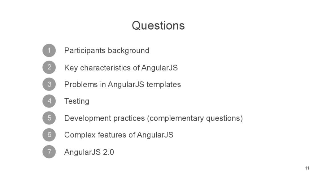Questions 2 1 3 4 5 6 7 Participants background...