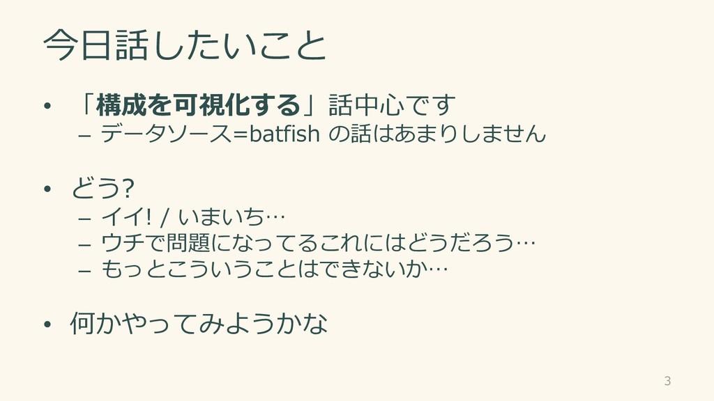 今日話したいこと • 「構成を可視化する」話中心です – データソース=batfish の話は...