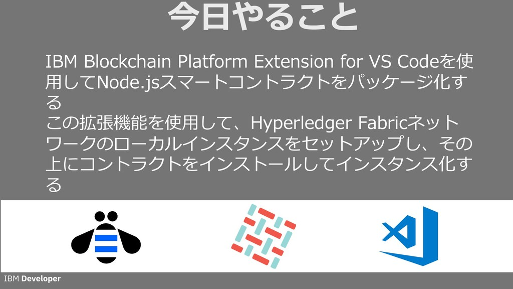 今⽇やること IBM Blockchain Platform Extension for VS...