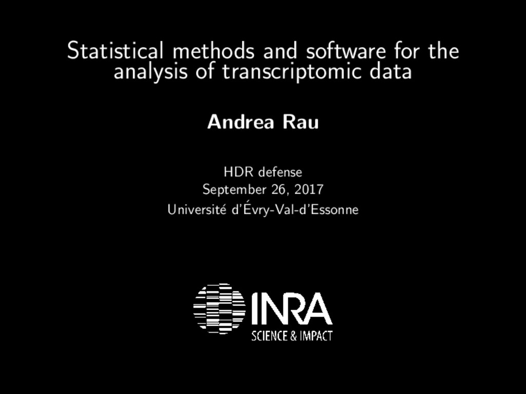 Statistical methods and software for the analys...