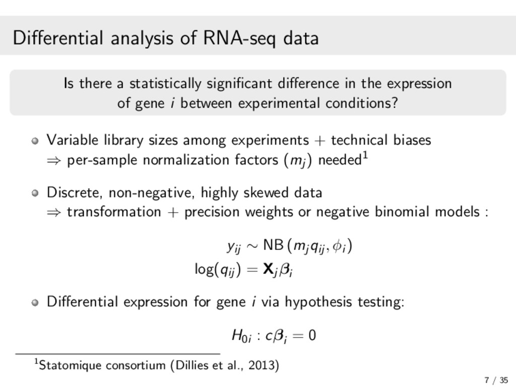 Differential analysis of RNA-seq data Is there a...