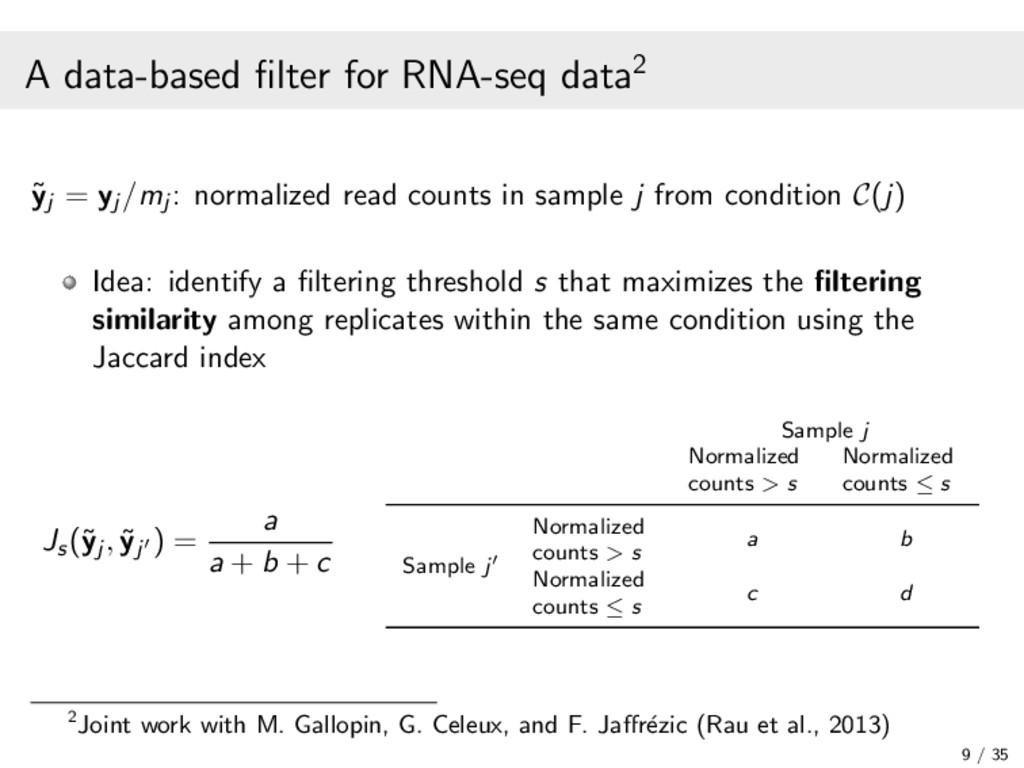 A data-based filter for RNA-seq data2 ˜ yj = yj ...