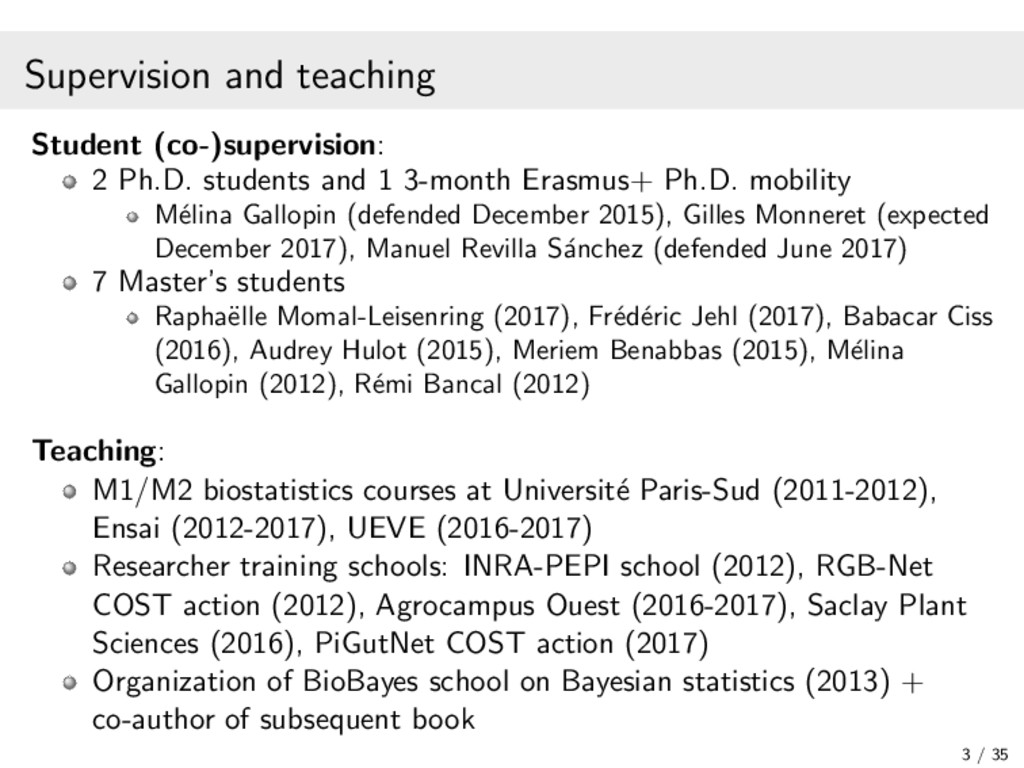Supervision and teaching Student (co-)supervisi...