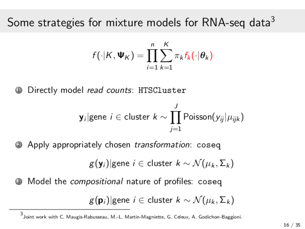 Some strategies for mixture models for RNA-seq ...
