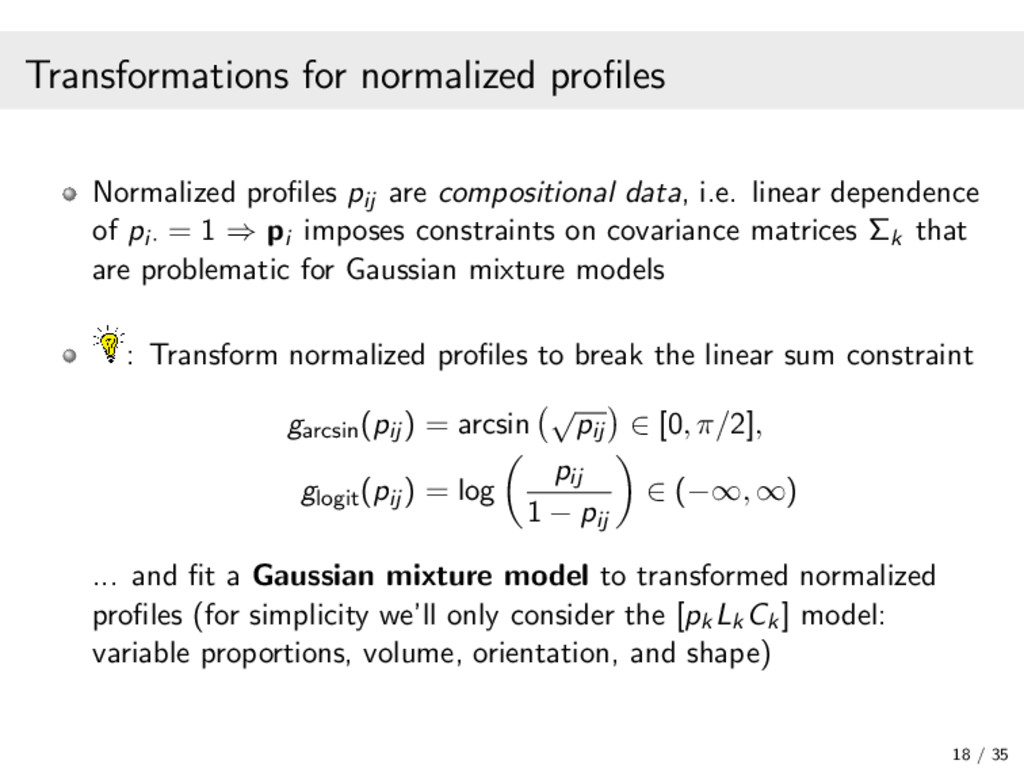 Transformations for normalized profiles Normaliz...