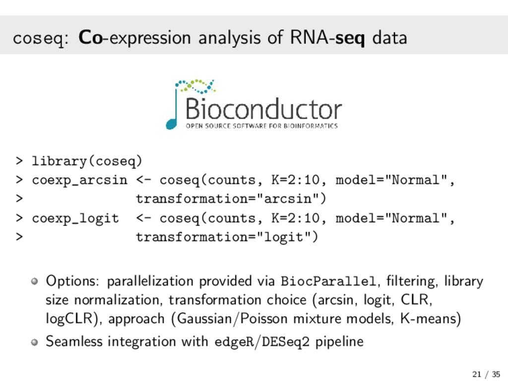 coseq: Co-expression analysis of RNA-seq data >...