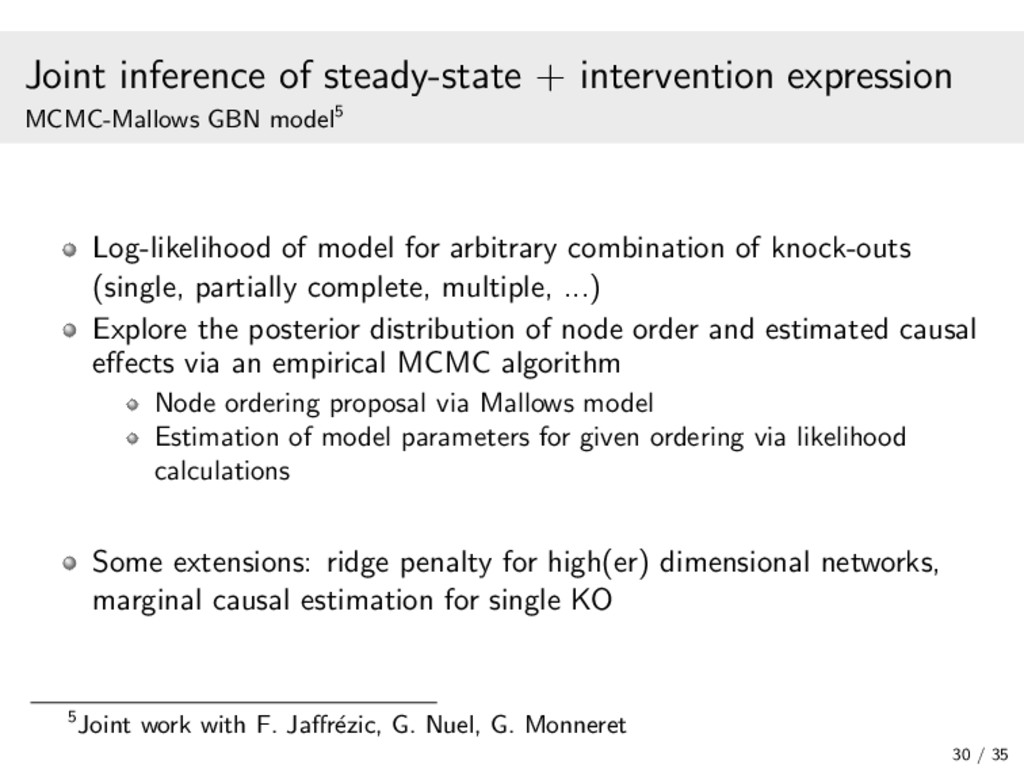 Joint inference of steady-state + intervention ...