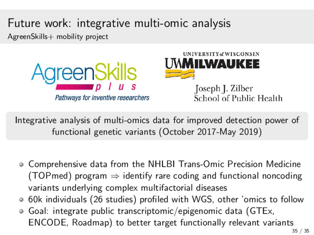 Future work: integrative multi-omic analysis Ag...