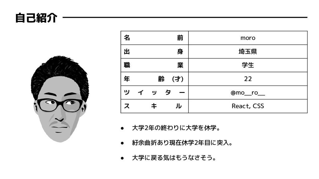 自己紹介 名 前 moro 出 身 埼玉県 職 業 学生 年 齢 (才) 22 ツ イ ッ タ...