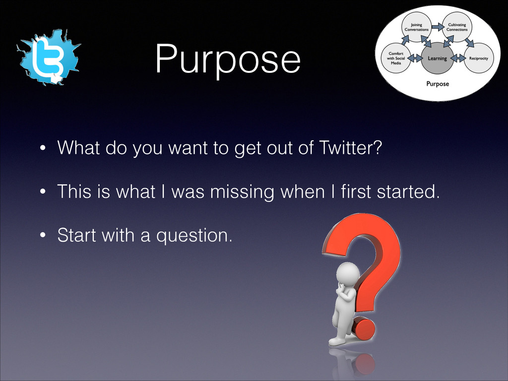 Purpose • What do you want to get out of Twitte...