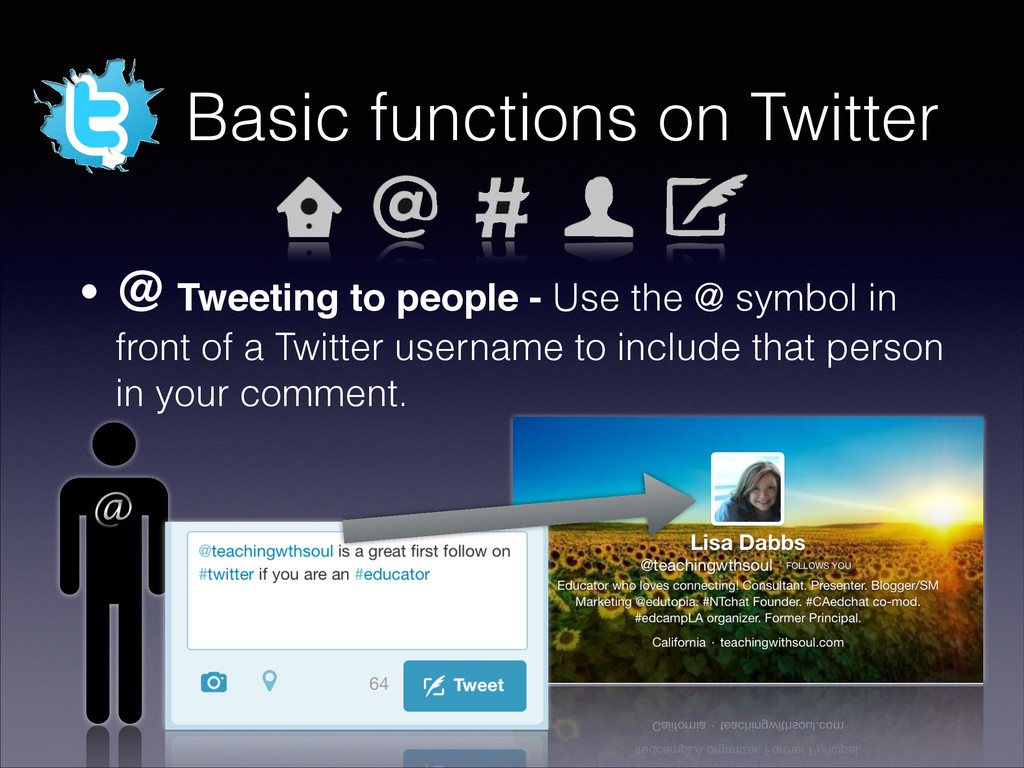 Basic functions on Twitter • @ Tweeting to peop...