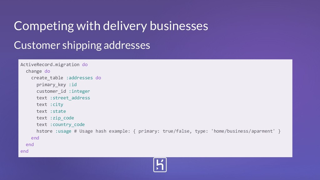 Customer shipping addresses ActiveRecord.migrat...