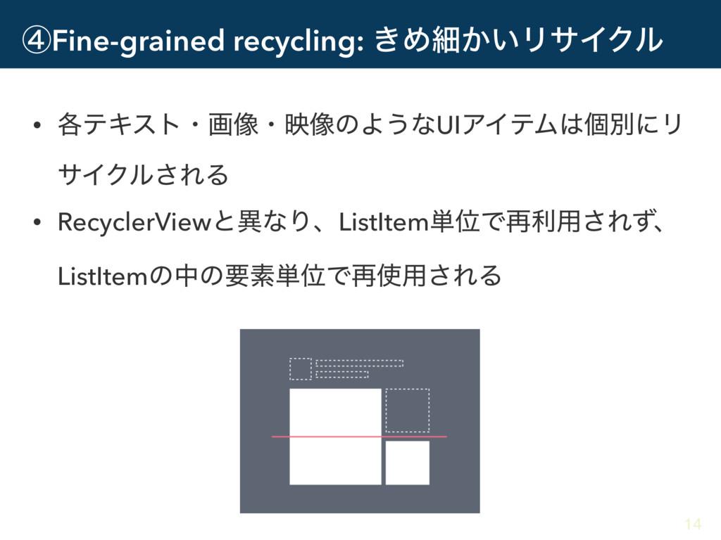 ᶆFine-grained recycling: ͖Ίࡉ͔͍ϦαΠΫϧ • ֤ςΩετɾը૾ɾ...