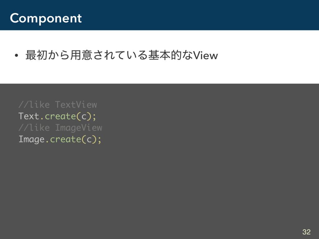 Component • ࠷ॳ͔Β༻ҙ͞Ε͍ͯΔجຊతͳView //like TextView...