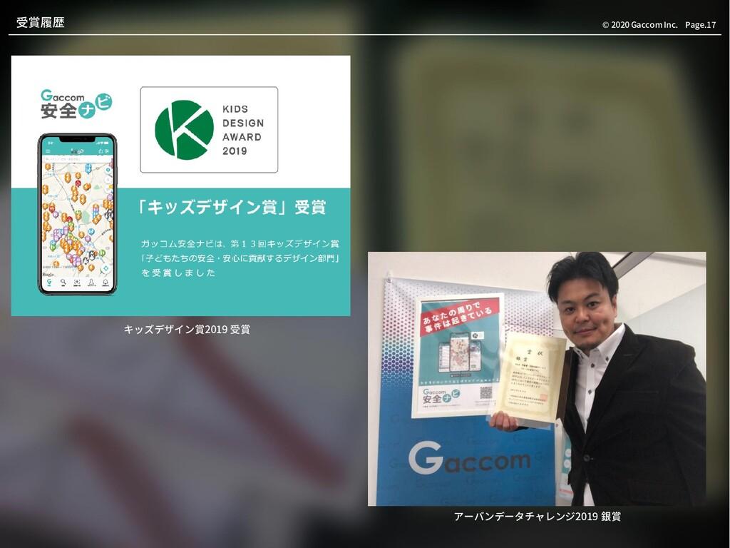 Page.17 © 2020 Gaccom Inc. 受賞履歴 キッズデザイン賞2019 受賞...