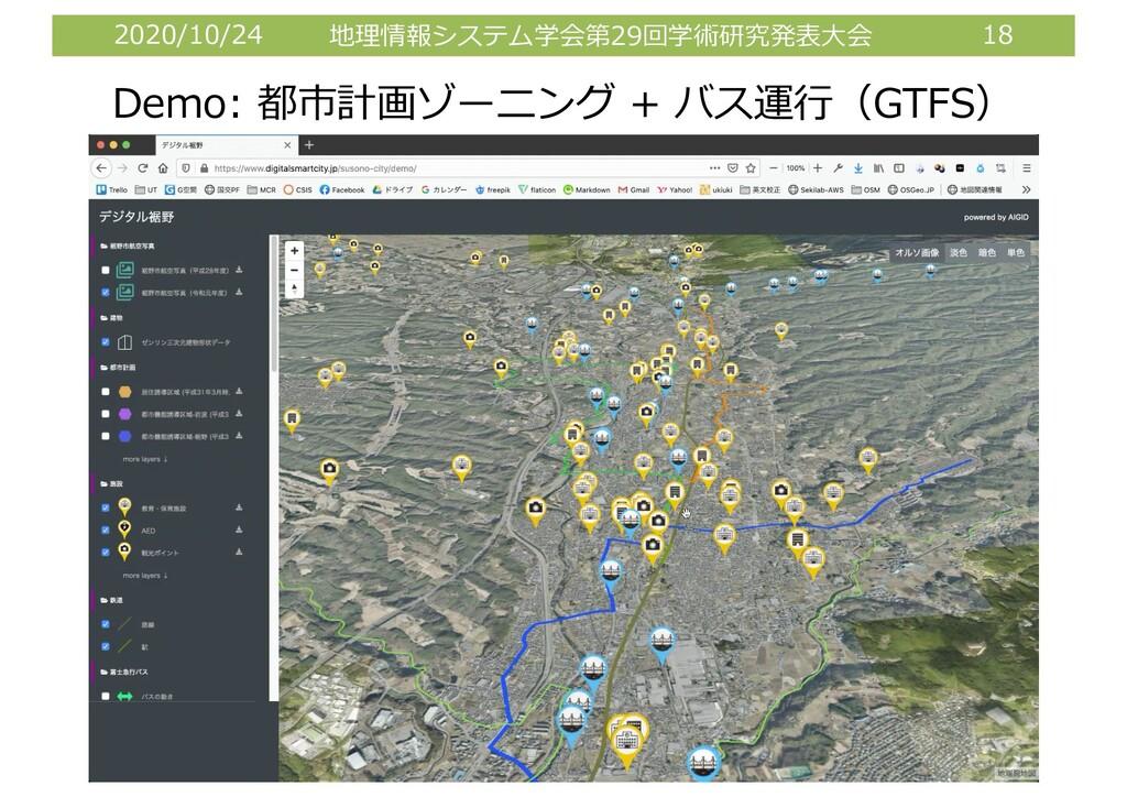 2020/10/24 地理情報システム学会第29回学術研究発表⼤会 18 Demo: 都市計画...