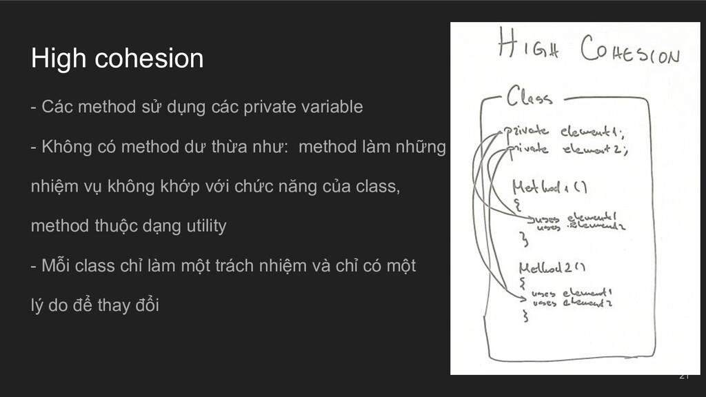 High cohesion - Các method sử dụng các private ...