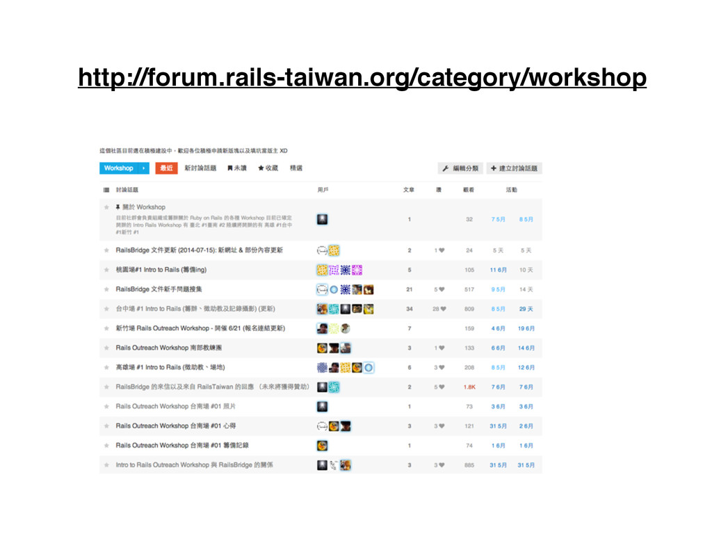 http://forum.rails-taiwan.org/category/workshop