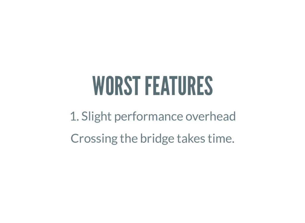WORST FEATURES 1. Slight performance overhead C...