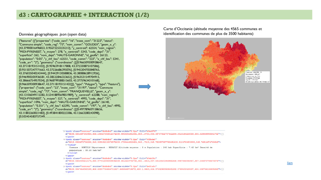 "d3 : CARTOGRAPHIE + INTERACTION (1/2) {""feature..."