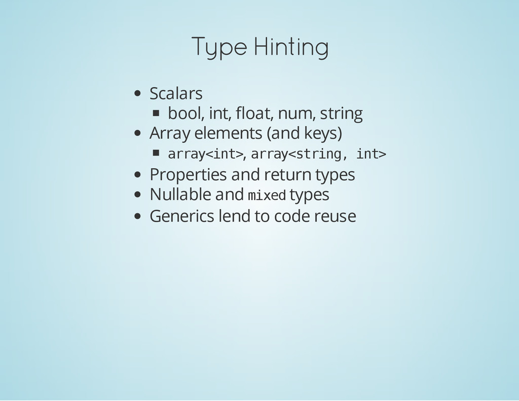 Type Hinting Scalars bool, int, float, num, str...