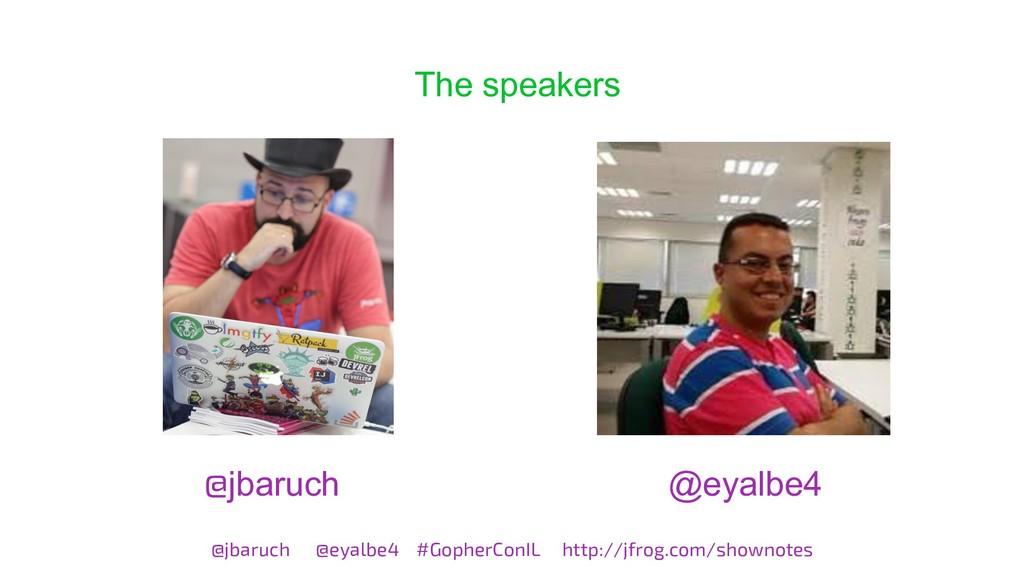 The speakers @jbaruch @eyalbe4 #GopherConIL htt...