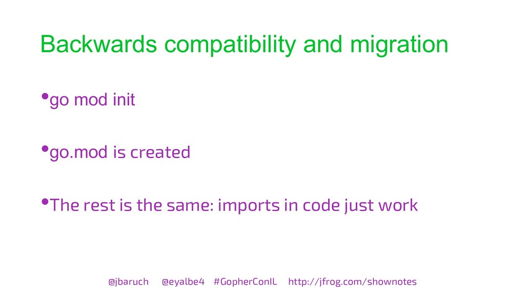 Backwards compatibility and migration @jbaruch ...