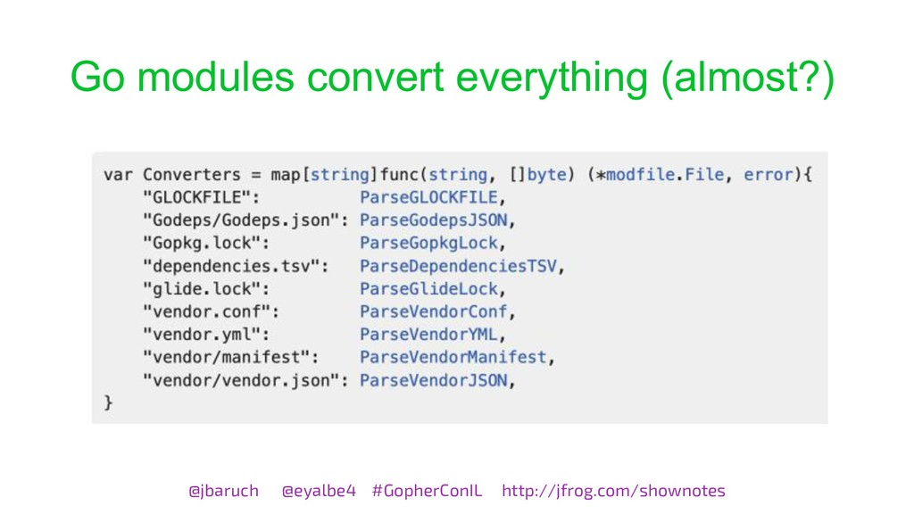 Go modules convert everything (almost?) @jbaruc...