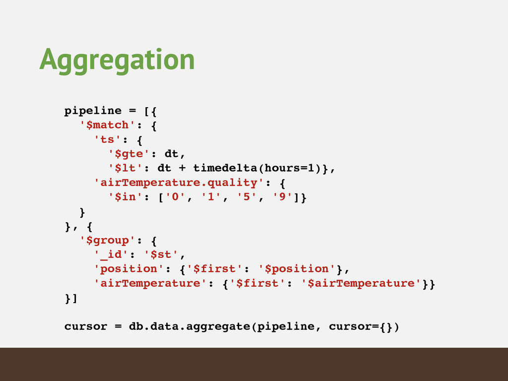 Aggregation pipeline = [{! '$match': {! 'ts': {...