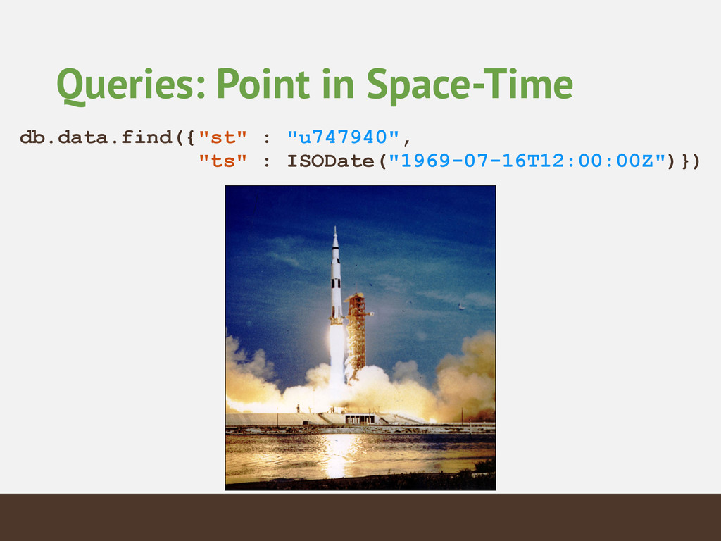 """Queries: Point in Space-Time db.data.find({""""st""""..."""